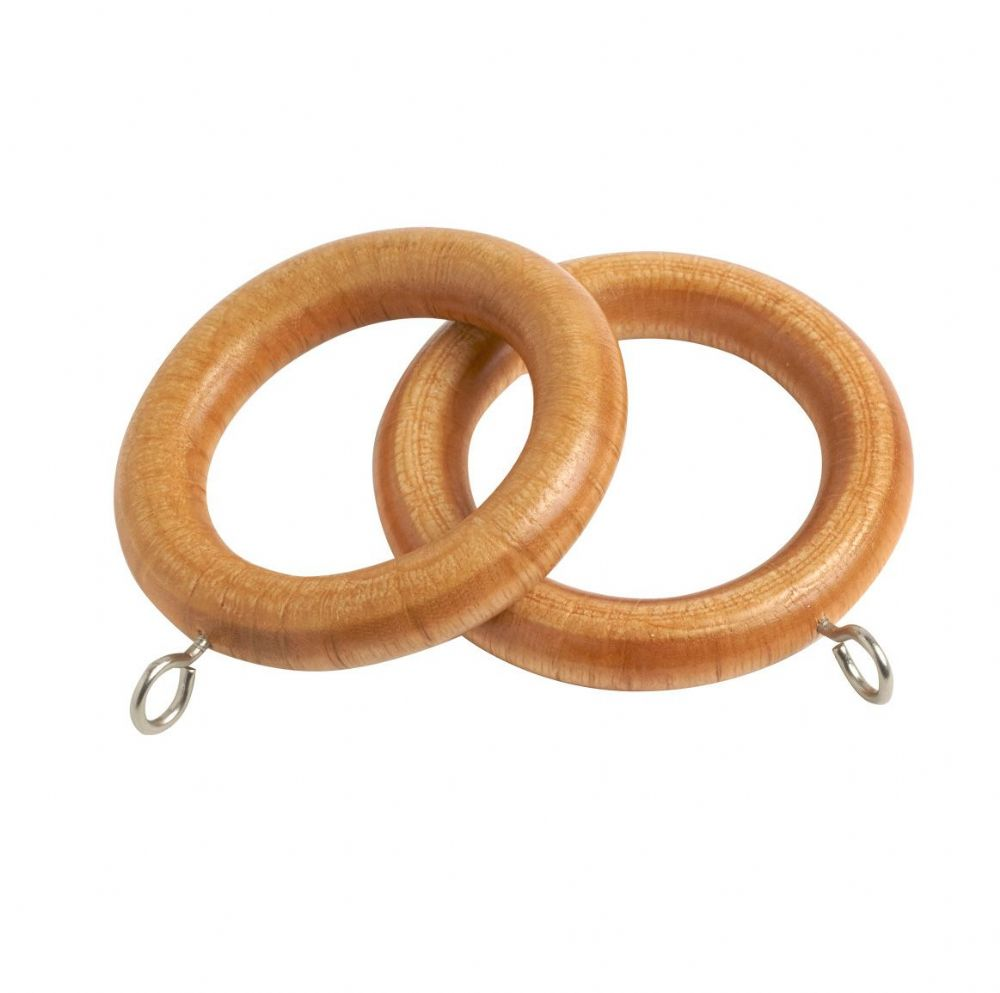 Speedy Victory  28mm Wooden Curtain Rings (Pack of 6) - Light Ash